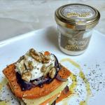 Milhoja de hortalizas con rema de queso Record de cabra con miel por Cocinando en Guadarrama
