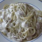 Espaguetis con crema de Queso Record y bacon @Recetas_Recipe