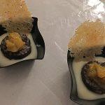 Morcilla de Burgos con chutney de peras y crujiente de queso Record @CocinarPara4