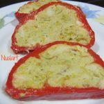 Pimiento Rojo relleno de Queso Record, brócoli y puerro por Cocinabetulo