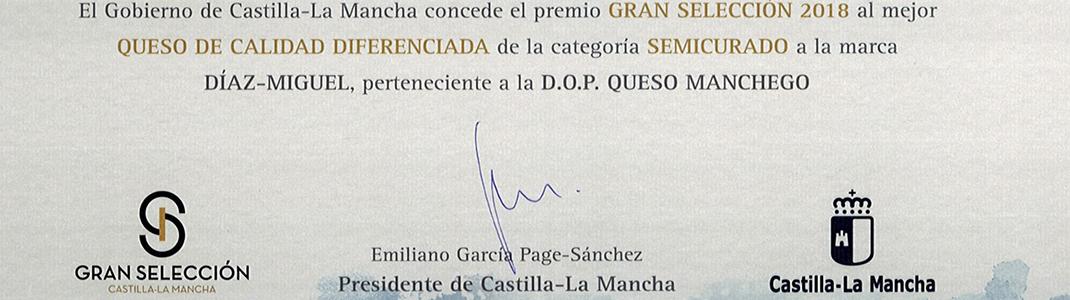 El Queso Manchego Díaz-Miguel D.O.P. Semicurado PREMIO GRAN SELECCIÓN 2018
